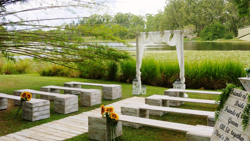 white wedding benches